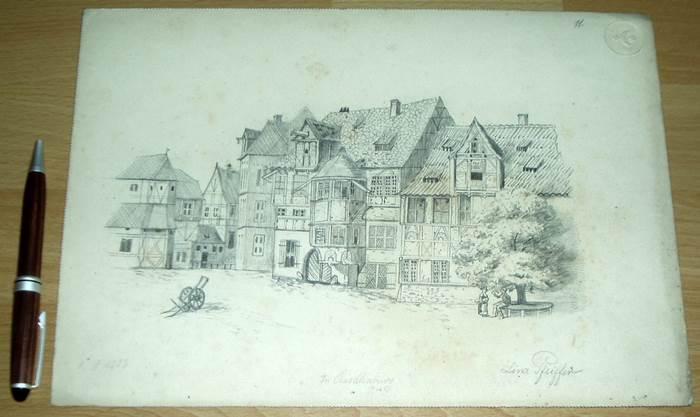 quedlinburg 1902 sch ne h useransicht original zeichnung bleistift ebay. Black Bedroom Furniture Sets. Home Design Ideas