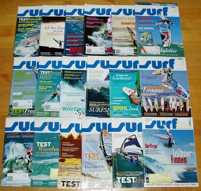 45x Surf große Sammlung Zeitschriften Surfen Freeride Surfing Magazin Wellenreit Sport Bücher