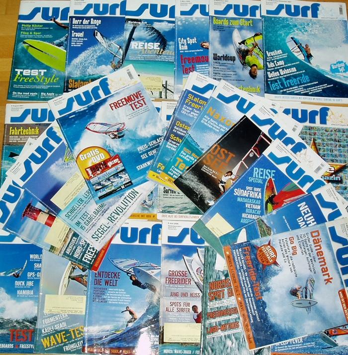Bücher Zeitschriften 45x Surf große Sammlung Zeitschriften Surfen Freeride Surfing Magazin Wellenreit